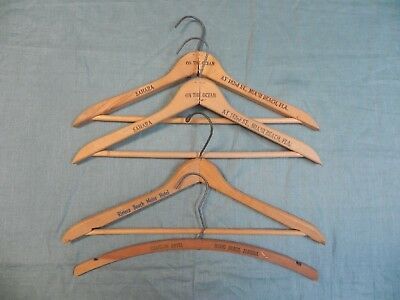 Lot of 4 Vintage Florida Miami Hotel Beach Wood Wooden Hangers