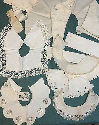 Vintage Lot of 19 Cotton Pique Collars and Cuffs Some Embroidered  Lace Trimmed