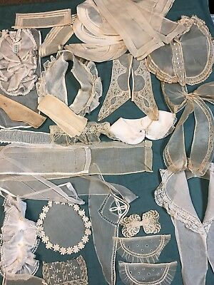 Vintage Lot of 38 Organdy and Batiste Collars Cuffs Jabots Bow Assorted