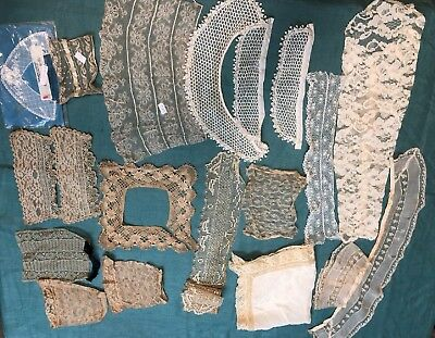Antique Lace Collars and Cuffs Lot  17 pieces  Trim Craft