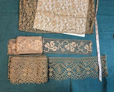 Antique Wide Lace  8 yds  Dark Ecru  Cluney Needle and Bobbin  Craft Doll