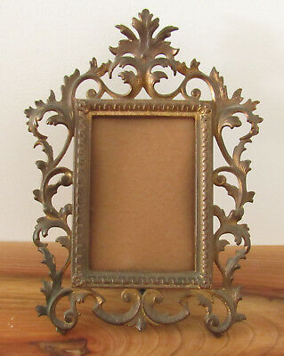 Antique Brass Ornate Cast Iron Brass Finish Picture Frame