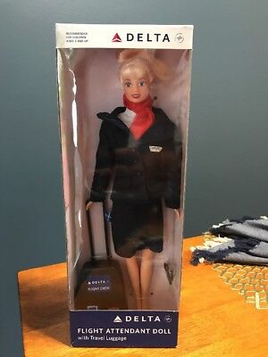 Delta Airlines Flight Attendant Doll with Travel Luggage Blonde Airplane Skyteam