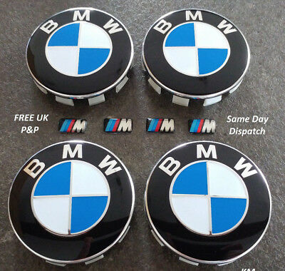 Alloy Wheel Centre Hub Caps / 68mm 10 Pin /+ 4 M Sport Stickers / Fits BMW