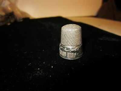 """Sterling Silver Usa Thimbel """" A Stitch In Time Saves Nine""""  Saying - Engravable"""