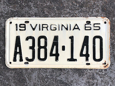 1965 Virginia License Plate #A384-140 SAME DAY SHIPPING