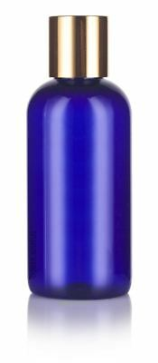 Cobalt Blue 4 oz Boston Round PET Bottles (BPA Free) with Gold Disc Cap Dispense