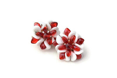 Vintage Western Germany Milk Glass & Red Glass Bead Flower Cluster Clip Earrings
