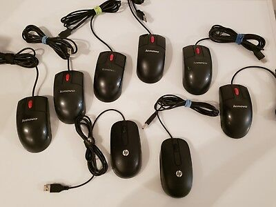 Lot of 8 Lenovo & HP Wired USB Optical Mice