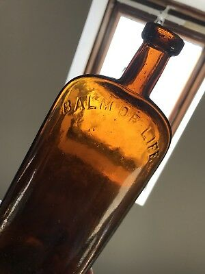 """Early-Bottle~1860's-Era~""""COOKE'S / BALM OF LIFE""""~Crude~Strap-Side Patent Medcine"""
