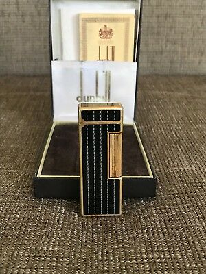 Rare Design Vertical Line Dunhill Rollagas  Lighter with box Black Lacquer GP