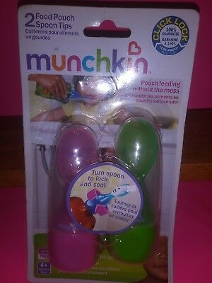 Munchkin Click Lock Food Pouch Spoon Tips for Baby 2 Pack Green Pink New