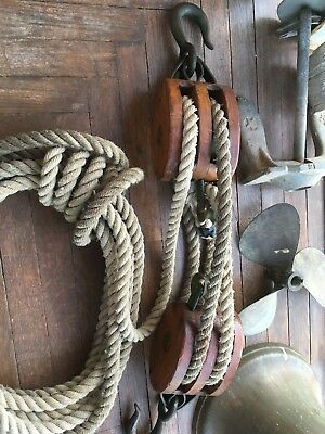 Antique Ship Blocks And Tackle With Rope
