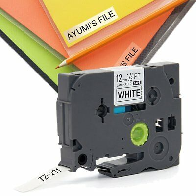 1 Pk 12mm 8M Black on White Label Tape Brother TZ 231 TZe 231 P-Touch Compatible