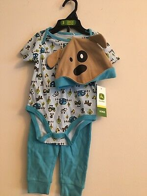 John Deere Infant 3 piece set Blue 6-9 Mo Farm Print NWT Hat, One Piece, Pants