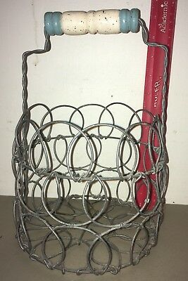 Vintage Primitive Wire Egg Collection Basket Collapsible Farm House