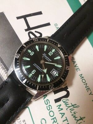 Vintage 1960s Lucerne Calendar Waterproof Anti-Magnetic Mens Divers Wristwatch