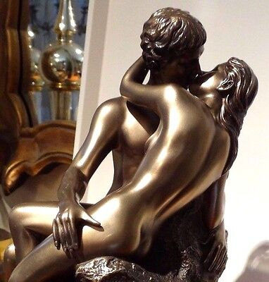 NUDE male & female Bronze statue sculpture THE KISS Love making sitting NEW $170