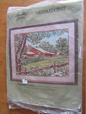 Vintage  Complete Tapestry Kit + Canvas,part Worked Summer Scene