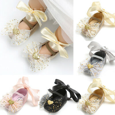 UK Stock Baby Girls Moccasin Christening Prewalker Shoes 0-18M Sequins Booties