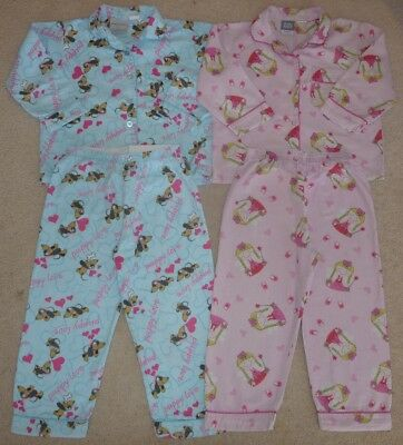GIRLS WINTER PAJAMAS / PJS BLUE 'PUPPY LOVE' AND PINK FAIRY - SIZE 4 x 2 PAIRS