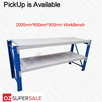 1.2m or 2M(L)0.9m(H) METAL STEEL WORKSHOP SHELVING WAREHOUSE STAND WORK BENCHx1