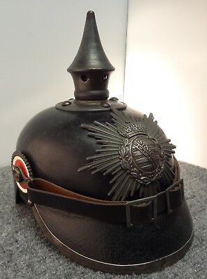 WW1 German Saxon Infantry Pickelhaube Helmet Spike Helmet