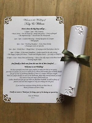 50 White Personalised Wedding Order of Service Scrolls Heart design & ribbon bow