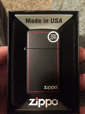 NEW ZIPPO Lighter Black Matte With Logo & Border, SLIM Version, FREE SHIPPING