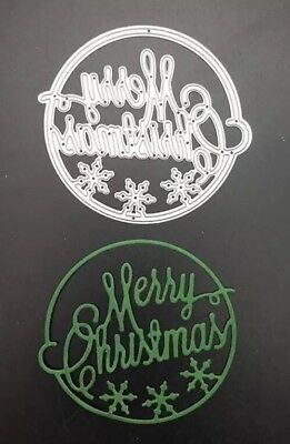 Circular Merry Christmas Sign Suitable For Sizzix Cuttlebug Die Cutting Machine
