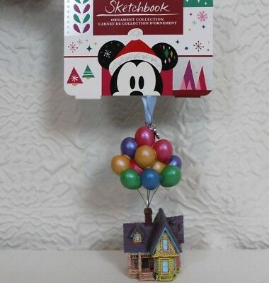 """2018 Disney Store Pixar UP House Balloons Sketchbook Ornament 4.5"""" Boxed NWT"""