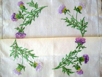 Gorgeous Scottish Thistles ~ Hand Embroidered Centrepiece/Mat