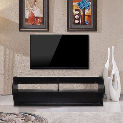 WOOD TV STAND Wall Mount Media Entertainment Console Center Desk Floating  Shelf