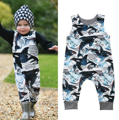 Cute Newborn Baby Boys Dolphin One Piece Jumpsuit Romper Outfit Clothes 0-24M