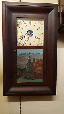 Vintage Weight Driven 8 Day Wall Clock with Painted Glass Tablet and Strike
