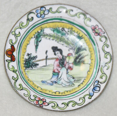 Chinese 1930s Enamelware Brass Woman Sitting in Landscape Small Round Plate