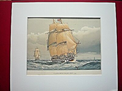 """19th CENTURY ROYAL NAVY PRINT """" A 74 GUN SHIP-OF-THE LINE, ABOUT 1794.""""  1890."""