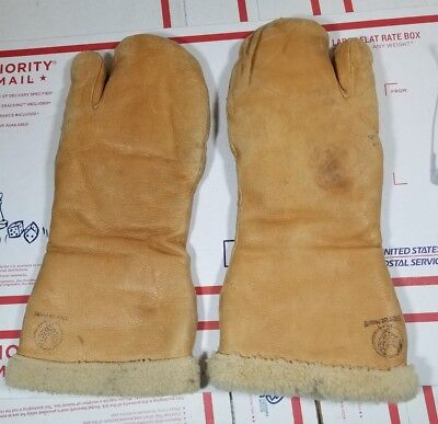 1940s WWII Leather Trigger Finger US Army Air Corp Door Gunner Mittens Gloves