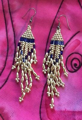 Vintage Antique Gold Blue Beaded Macrame Boho Drop Earrings Deceased Estate Vtg