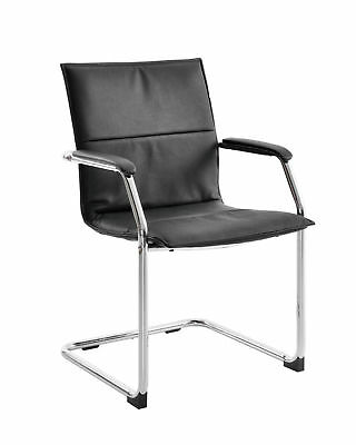 Office Furniture - Essen Black Leather Faced Conference Chair Meeting Room