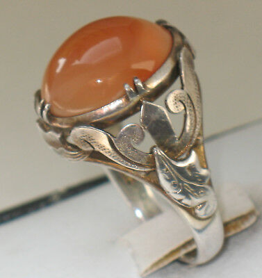 ANTIQUE CHINESE ACHAT SILVER RING wonderful RARE CHINA ca. 1920