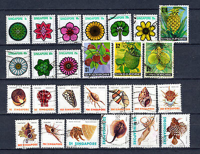 Singapore 1973-1977 Definitives Shells Plants 2 X Full Set Of Used Stamps