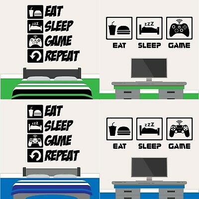 Eat Sleep Game Wall Sticker PS4 XBOX Gaming Gamer Boys Girls Kids Bedroom Decal