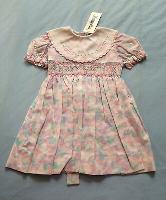 Vintage Marquise Girls Party Dress Size 1 Pink Butterflies Wedding Flower Girl