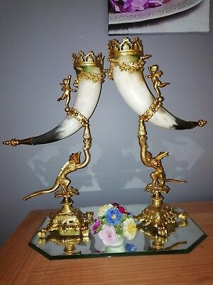 Rare French antique pair of horns of abundance in bronze and horns