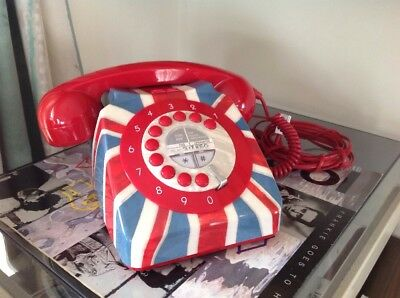 Next Telephone Union Jack Retro Push Button Corded Vintage Dial Style