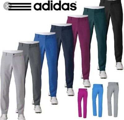 adidas Golf Ultimate 3-Stripe Trousers Mens Performance Tapered Leg 36W 32R