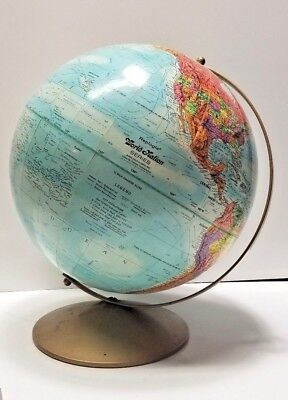"""Vintage Replogle World Nation Series 12"""" Globe Metal Axis/Base USSR Made in USA"""