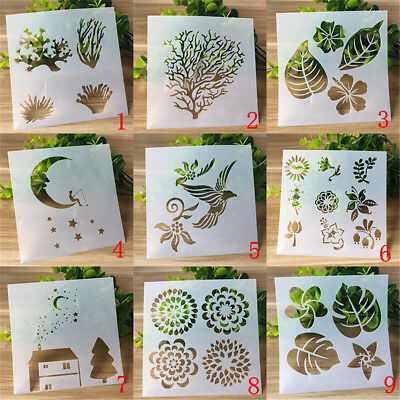 9pcs/set Craft Layering Stencils Embossing Template Wall Painting Scrapbooking