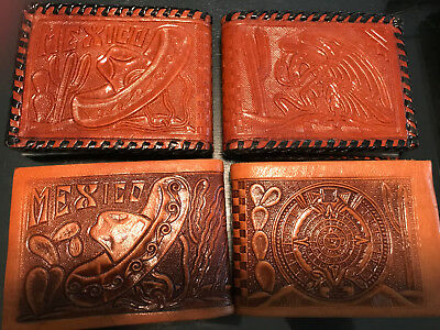 Lot of 4 Vintage Wallets from Mexico Tooled Leather NEW